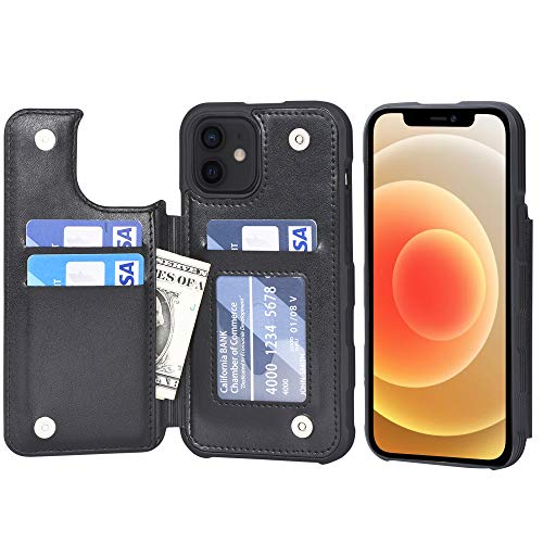 Arae Case for iPhone 12 and iPhone 12 Pro - Wallet Cover with PU Leather Card Holder - Black