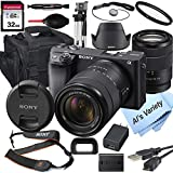 Sony Alpha a6400 Mirrorless Digital Camera with 18-135mm Lens+ 32GB Card, Tripod, Case, and More (18pc Bundle)