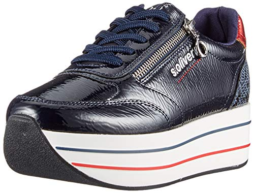 s.Oliver Damen 5-5-23641-34 Sneaker, Blau (Navy Patent 832), 38 EU