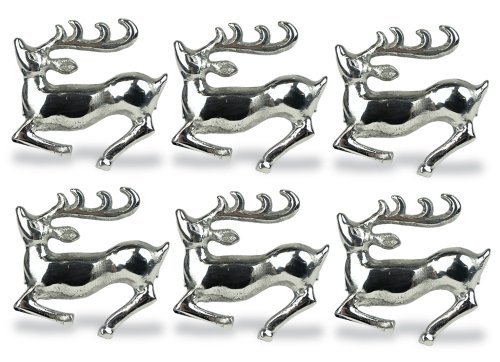 DII Decorative Holiday Napkin Rings, S/6, Silver Stag 6 Count