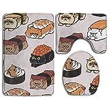 Taroot AA Bombilla Japonesa Sushi Comfort Franela Alfombra de baño Alfombrillas Set 3 Piezas Suave