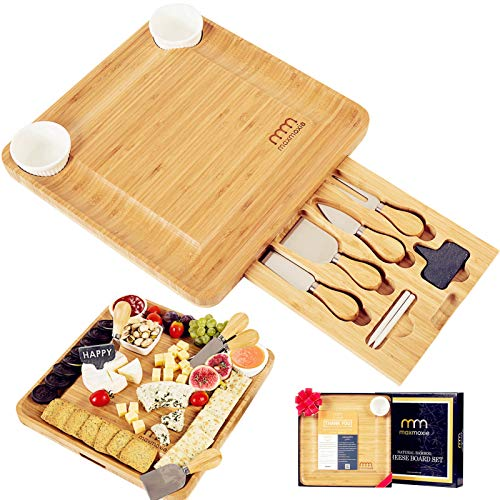 Cheese Board and Cutlery Set (Top Quality Elegant Packaging) Unique Bamboo...