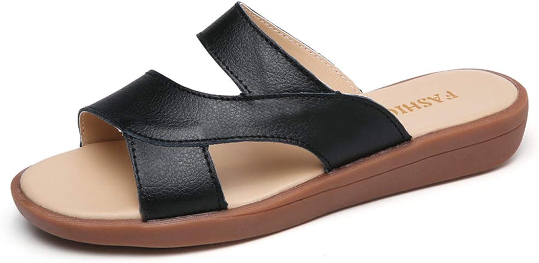Baviue Beach Leather Leisure Fashion Women Slide Sandals