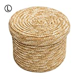 Wheat Woven Yarn Storage Basket with Lid, Round Wardrobe Desktop Finishing Basket for Snack Small Toy