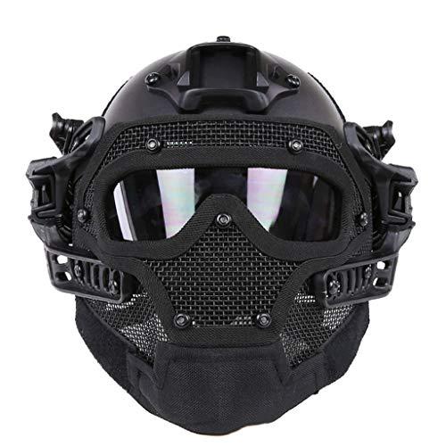 Gowing Unisex-Taktikhelm, Stahldrahtmaske, ABS Leichter Vollgesichts-G4-System- / PJ-Helm mit Abnehmbarer Schutzbrille, für Air Gun Paintball-Jagdschieß-CS-Spiel,A