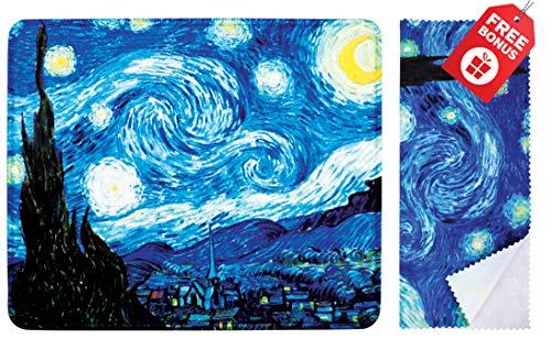 Tappetino per mouse notturno di Van Gogh con design colorato. Base antiscivolo. Panno per pulizia in microfibra coordinato. Mouse pad per laptop e viaggi
