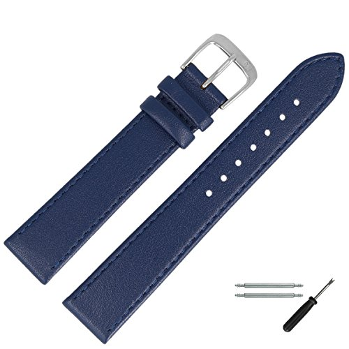 MARBURGER Uhrenarmband 22mm Leder Blau - Werkzeug Montage Set 7592251000120