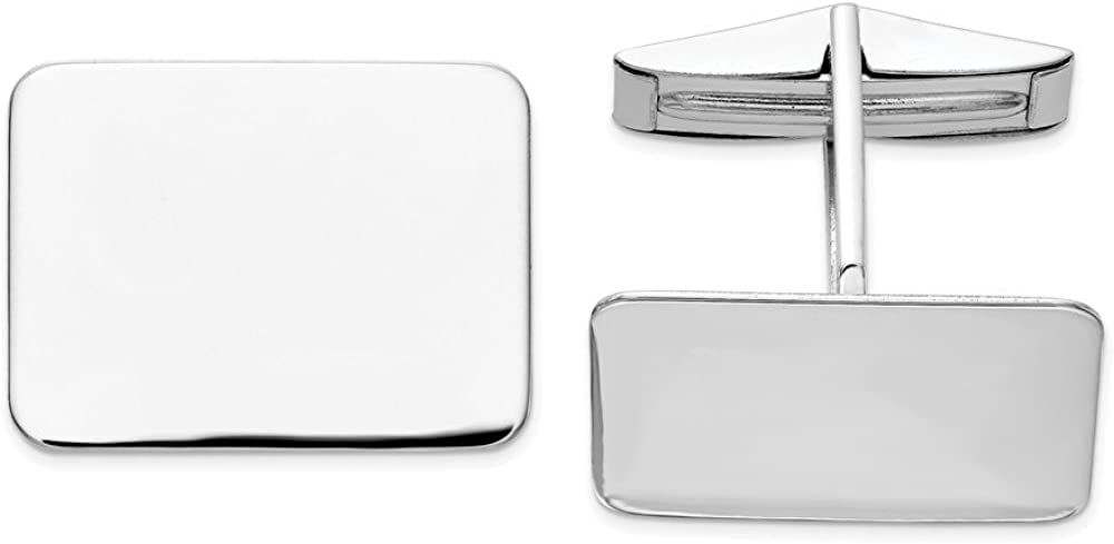 Solid 14k White Gold Rectangular Cuff Links (19.5mm x 15mm)