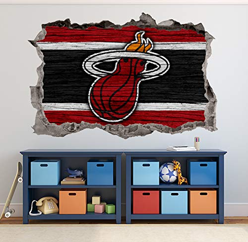 Basketball Miami Team Wall Decals Art 3D Smashed Custom Fan Heat Wall Decor Bedroom Garage Removable Vinyl Wall Stickers Gift WL200 (70