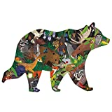 "Mudpuppy Woodland Forest Shaped Scene Puzzle, 300 Pieces, 23""x16"" – Ages 7+ - Features a Colorful Scene of Forest Animals – Finished Puzzle in The Shape of a Bear"