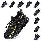 Zapatos de Seguridad Hombre Mujer Zapatillas de Trabajo con Punta de Acero Ligeros Calzado de Industrial y Deportivos Sneaker Negro Azul Gris Número 36-48 EU Amarillo 45