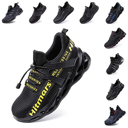 Zapatos de Seguridad Hombre Mujer Zapatillas de Trabajo con Punta de Acero Ligeros Calzado de Industrial y Deportivos Sneaker Negro Azul Gris Número 36-48 EU