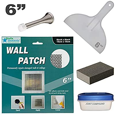 """Stella Drywall Repair Patch Kit 6""""x6"""" with Self-Adhesive Metal Patch, Joint Compound, Putty Knife, Sanding Pad and Door Stopper"""
