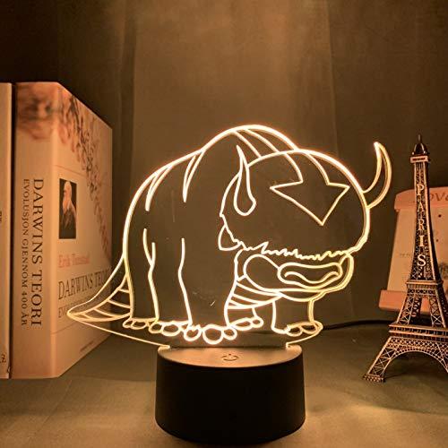Acryl 3D Lampe Avatar Das letzte Airbender Nachtlicht, für Kinder Kinderzimmer Dekor Die Legende von Aang Appa Figur Tisch Nachtlicht(7 Colors no Remote,DM93)