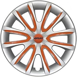 Universale Radkappen Radzierblenden Radblenden 14 Zoll Silver/Orange