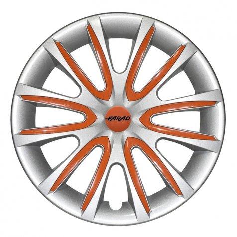 Universale Radkappen Radzierblenden Radblenden 15 Zoll Silver/Orange