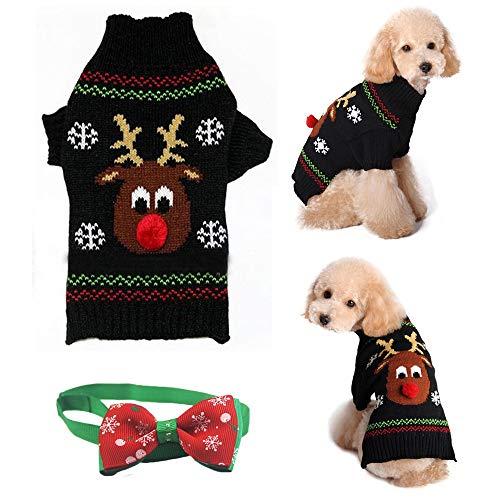 Kungfu Mall suéter de reno de nariz roja para mascotas, con pajarita...