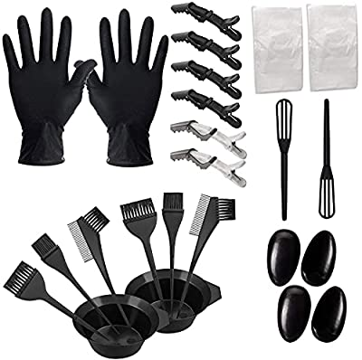 Hair Dye Coloring Kit 24 Pieces DIY Hair Dye Brush and Bowl Set With Mixing Spoon Ear Cover,Gloves Hair Dye Tools