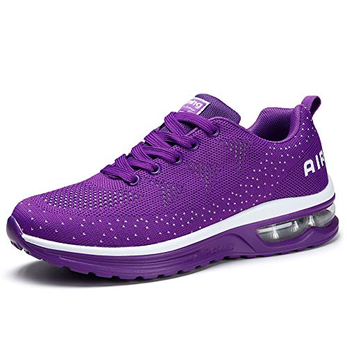 STQ Womens Running Shoes Lightweight Athletic Air Cushion Mesh Running Training Walking Sneakers, 10 Purple