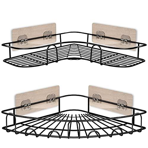 IEMY® Etagère de Douche d'angle - Etagere Salle de Bain Lot de 2, Sans Percage Antirouille Panier de douche Cuisine Rangement, Accessoires 5 Autocollants Adhesifs, Noir