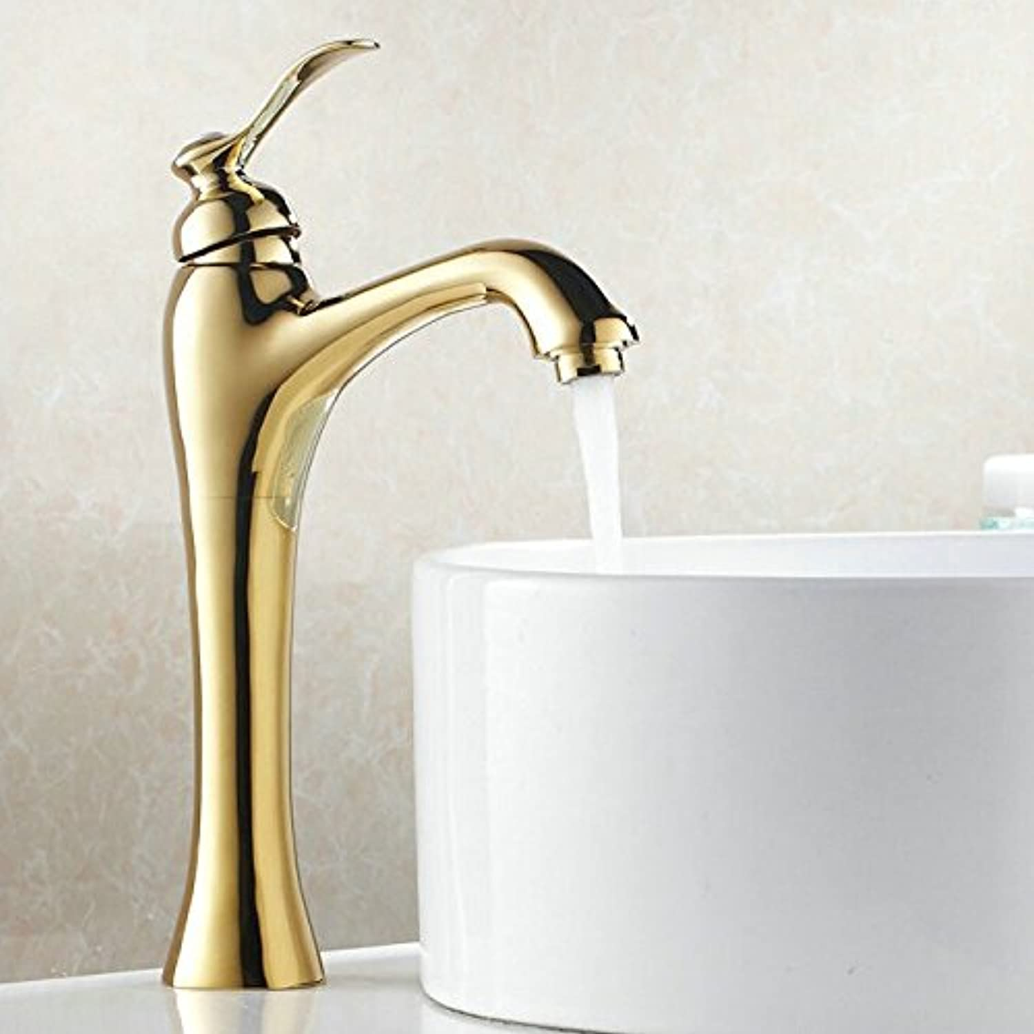 Makej Bathroom golden Finish Faucet golden Polished Bathroom Basin Faucet Mixer Tap Brass Faucet