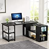 L-Shaped Computer Desk, Tribesigns Rotating Corner Computer Desk with Bookcase and File Cabinet (Black)