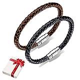Pulsera de 2 piezas para hombre, cuero trenzado para hombres adolescentes niños, pulseras de tejido de acero inoxidable brazalete joyería regalo para la persona favorita, cumpleaños de navidad