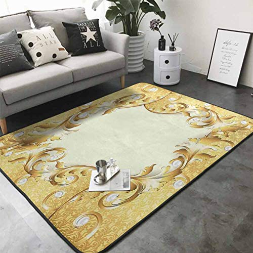 Bathroom Rug Kitchen Carpet Illustration of a Frame with Ornaments and Pearls Baroque Style Floral Patterns 64'x 96' Natural Fiber Area Rug