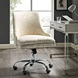 Alida Fabric Office Chair with Silver Nailhead Trim - Beige Vintage Floral
