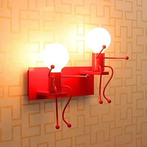 Vinteen Mode Double Tête Enfants Lampe Murale Simple Salon Applique Murale Chambre Moderne Mignon Créative Chevet Mur Projecteurs Corridor 3D Dessin Animé Lumières Led Color : Double Head Red