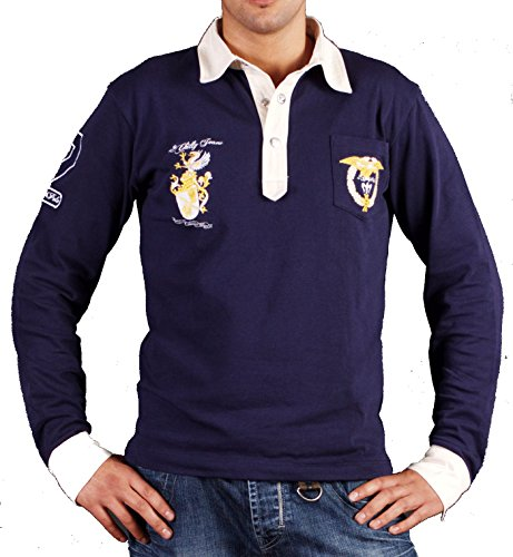 2Chilly Poloshirt Polohemd David Sweatshirt Langarm Camp Hemd Shirt dunkelblau Navy (XXL)
