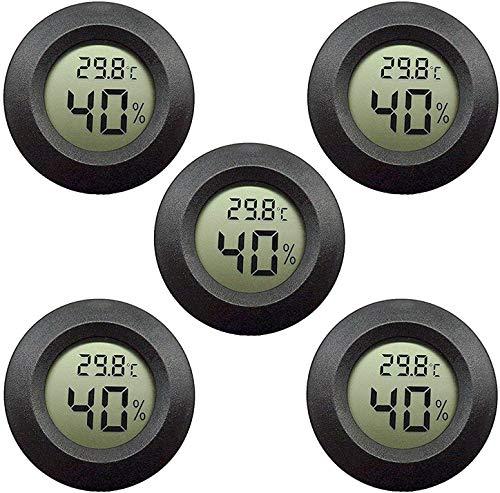 Topcloud LCD Digital Hygrometer Thermometer, Innen-Außenfeuchtemessgerät Temperaturanzeige für Luftbefeuchter Luftentfeuchter Gewächshaus Keller Babyzimmer, Schwarz (5pack)