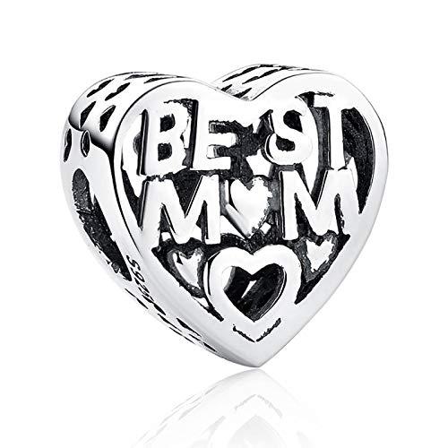 LISHOU DIY 925 Plata De Ley Europea Amor Corazón Bead Mejor Mamá Mujeres Día De La Madre Ajuste Original Pandora Pulseras Collar Colgante Fabricación De Joyas