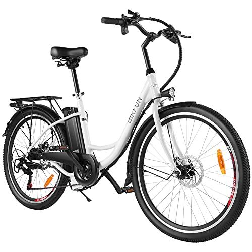 BIKFUN Vélo Électrique 26 pouces City E-Bike | 15Ah/540Wh Batterie Amovible Portée 70KM | Shimano 7 Vitesses Jusqu'à 32KM/H | 350W Vélo Électrique de Ville pour Homme et Femme Adultes | Pédale Pedelec