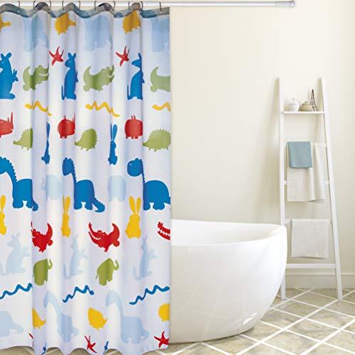"""Cotexsa by MSV Premium Anti-Schimmel Textil Duschvorhang 144038 - Anti-Bakteriell, waschbar, 100prozent wasserdicht, mit 12 Duschvorhangringen - Polyester, """"Zoo"""" Bunt 180x200cm – Made in Spain"""