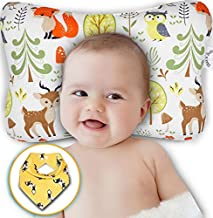 Baby Head Shaping Pillow - Flat Head & Reflux Prevention for Newborn Infants – Organic Cotton Hypoallergenic – 3D Breathable Air Mesh Neck Support – Machine Washable & Dry-able – Bib Shower Gift Set