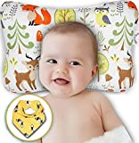 Baby Head Shaping Pillow - Baby Pillow for Newborn Prevent Flat Head & Reflux - Hypoallergenic, Organic Cotton, Anti-Sweating Flat Head Baby Pillow for Baby 0-12 Months Gift Set