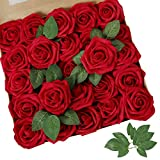 AmyHomie Artificial Flower Red Rose 25pcs Real Looking Fake Roses w/Stem for DIY Wedding Bouquets Centerpieces Arrangements Party Baby Shower Home Decorations