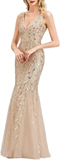 Ever-Pretty Damen Abendkleid Meerjungfrau Pailletten Tüll V Ausschnitt lang 07886