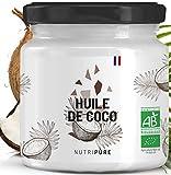 Huile de Coco Vierge BIO 400 mL • 100% Vegan, Naturelle & Pure • Alternative aux Huiles classiques • Soin Visage, Corps, Peau & Cheveux • Cosmétique et Cuisine Diététique • Pressée à Froid • NUTRIPURE