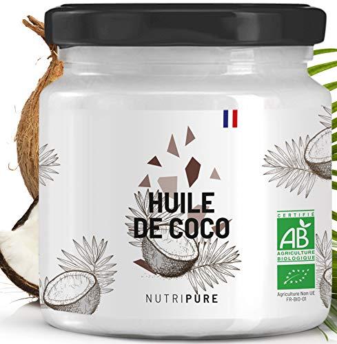 Huile Vierge de Coco Bio • 100% Naturelle & Pure • Alternative aux Huiles classiques • Soin du Visage, de la Peau et des Cheveux • Vegan • Pas de singes utilisés pour la Récolte • 400 mL • NUTRIPURE