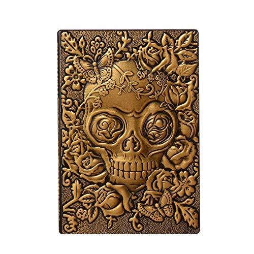 Diario de Halloween, cuaderno de notas de papel de calidad de tapa dura, cuaderno de escritura para regalos, viajeros de trabajo, estudio de 8.7 x 5.7 pulgadas (color dorado)