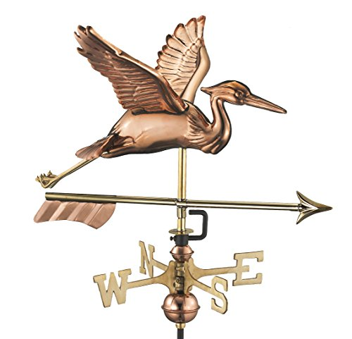 Good Directions Blue Heron with Arrow Cottage Weathervane - Pure Copper with Roof Mount