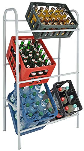Novaliv Getränkekistenhalter I Regal für 6 Kiste I weiß I Getränkeregal I Getränkekastenregal Kistenregal Multi-Function Rotating Storage Rack Regal Abstellraum