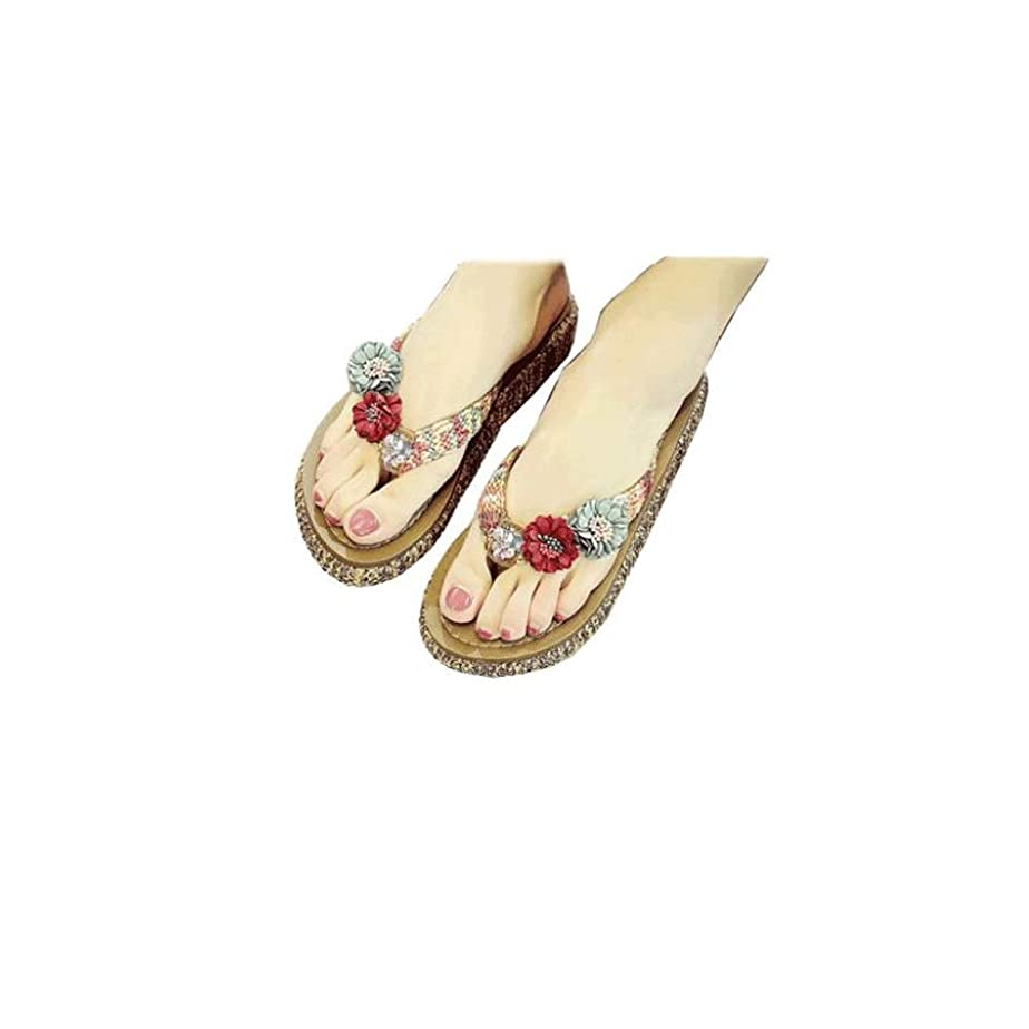 前方へ平和なトークスリッパ女性の夏のフリップフロップサンダルビーチ滑り止め厚い底のファッション靴 (色 : A, サイズ さいず : 36)