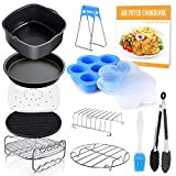Square Air Fryer Accessories 11 pcs with Recipe Cookbook Compatible for Philips Air Fryer, COSORI and other...