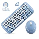 MOFii 2.4G USB ワイヤレスキーボードとマウスセット レディースキーボード 丸いキーキャップ 人間工学に基づいた快適な操作 研削キーキャップ 凹型アーク タイプライター 英語配列 (ブルー)