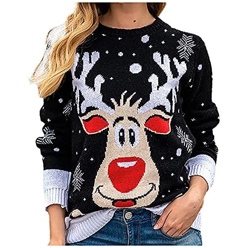 ZYUEER Pull de Noel Femme Col Rond à Manches Longues Imprimé Sweatshirt Chandail Tricoté Sweater Chic et Elegant Hiver