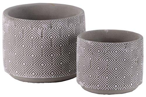 Urban Trends 35750Zement Zylinderförmiger Übertopf mit Gravur Lattice Diamond/konisch unten gewaschen Beton Finish (Set von 2), grau, 2Stück