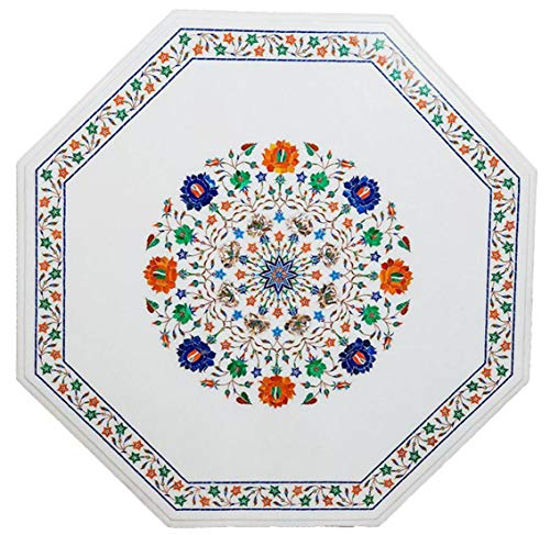 Gifts And Artefacts 36 Inches Octagon Shape Stone Table Top Marble Patio Dinning Table with Marquetry Art Perfect Home Assents